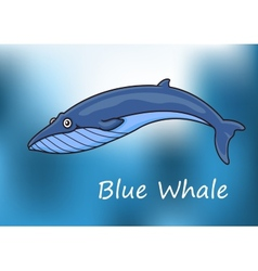 Cartoon blue whale swimming underwater vector