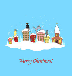 cartoon christmas card design with cats vector image