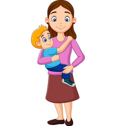 cartoon mother carrying a boy in her arms vector image