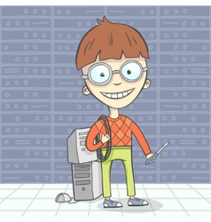 Cartoon of geek man character vector image