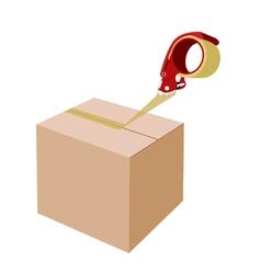 Closing A Cardboard Box with Dispenser vector