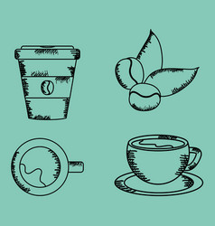 coffee time set icons drawing vector image