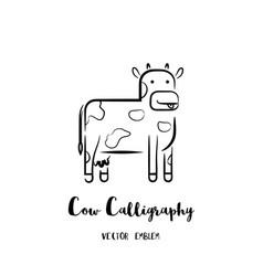 Cow calligraphy emblem vector