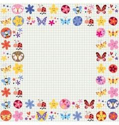 cute butterflies beetles bees flowers decorative vector image