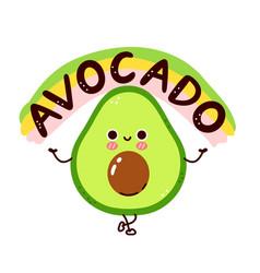 Cute funny avocado character flat line vector