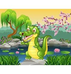Cute little crocodile presenting vector