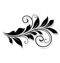 Decorative floral element with shadow vector