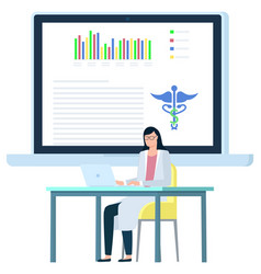 doctor female working with laptop document vector image