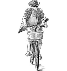 Ederly man in a hat rides a bike vector