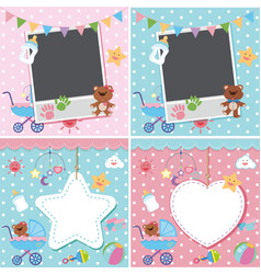 Four backgrounds with baby theme vector