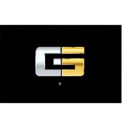 G silver gold letter alphabet logo icon design vector
