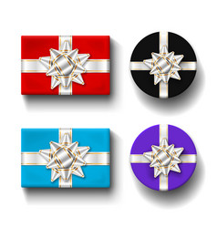 gift boxes 3d top view set isolated white vector image