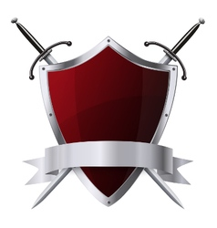 Glittering red shield and two swords with ribbon vector image