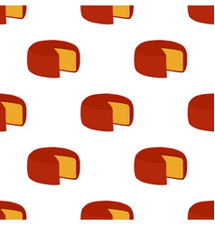 gouda cheese seamless pattern cartoon flat vector image