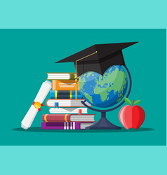 Graduation cap on stuck of books globe and apple vector