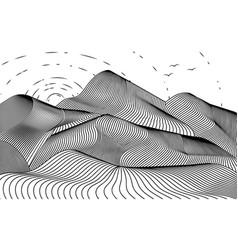 Graphic mountain range with sun vector