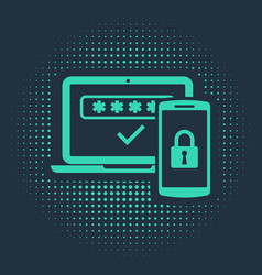 Green multi factor two steps authentication icon vector