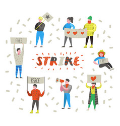 Group flat angry people protesting at strike vector