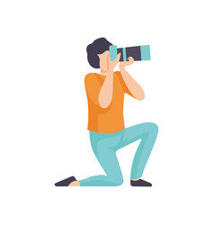 Guy taking photos with modern digital camera male vector