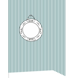 Hand drawn photo frame on stripes wall background vector image