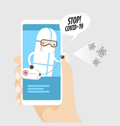 Hand holding phone with medical worker with ppe vector