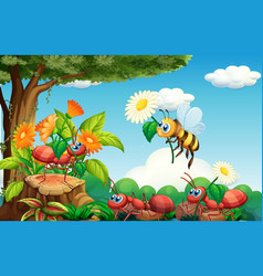 happy insect in nature vector image
