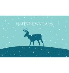 Happy New Years with reindeer scenery vector