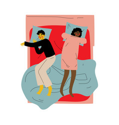 Interracial couple sleeping together in double bed vector