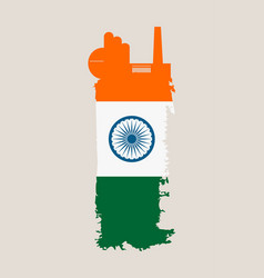 isolated factory icon and grunge brush india flag vector image