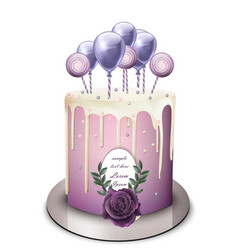 Lavender cake realistic white chocolate vector