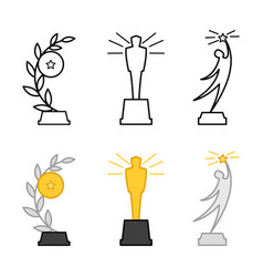 line and colorful different awards figurines vector image