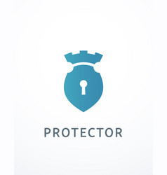 Lock and castle logo vector