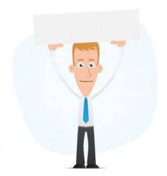 Manager holds over a banner vector