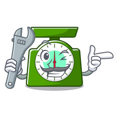 Mechanic kitchen scale mascot cartoon vector