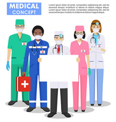 Medical concept detailed doctor and nurses vector