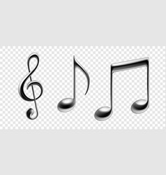 music notes metallic isolated icons vector image