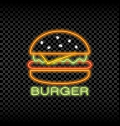 neon light sign burger cafe vector image