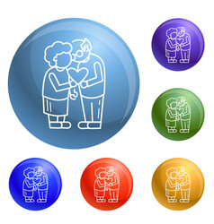 old person love concept background outline style vector image