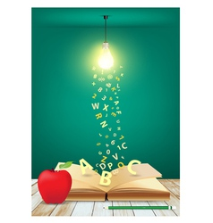 Open book with light bulb and falling letters vector