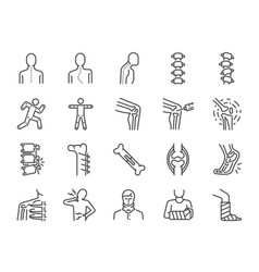 Orthopedics line icon set vector