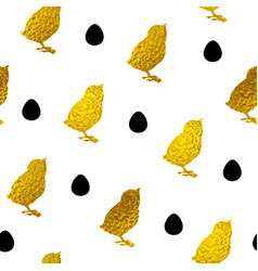 pattern with golden chicken and eggs vector image
