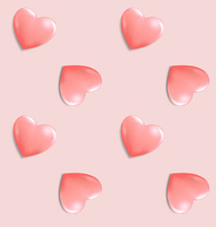 Pink romantic seamless pattern with 3d hearts vector