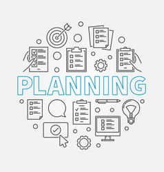 Planning concept round in vector