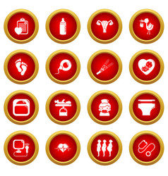 Pregnancy icons set simple style vector