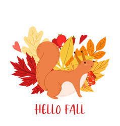 Premade design with squirrel and autumn leaves vector