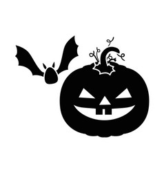 pumpkin hallooween with vampire decorative icon vector image