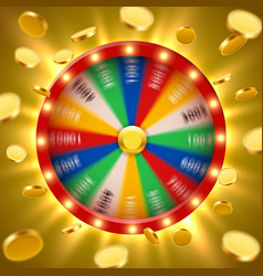 realistic 3d spinning fortune wheel with flying vector image