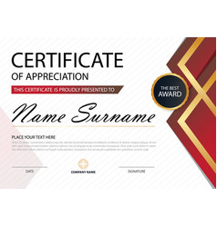 Red elegance certificate template vector