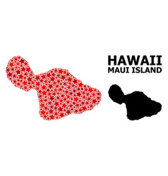 Red starred mosaic map maui island vector