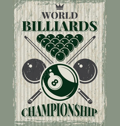 retro sport poster for billiard club vector image